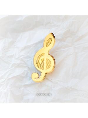 Брошь зеркальная Скрипичный ключ