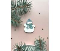 Брошь Снеговик с зеленым шарфиком