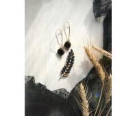 Набор брошь Колосок и серьги Озера в черно-золотом
