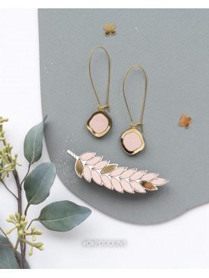 Набор брошь Колосок и серьги Озера в розово-золотом