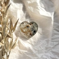 Брошь Валентинка зеркальная серебряная