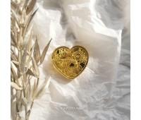 Брошь Валентинка зеркальная золотая