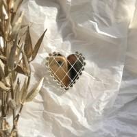 Брошь Валентинка зеркальная серебряная кружевная