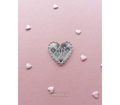 Брошь Валентинка зеркальная серебряная кружевная с оком
