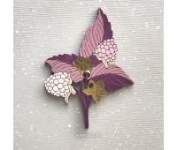 Брошь Ежевика темно-розовая