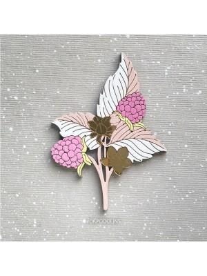 Брошь Ежевика светло-розовая с белым