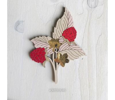 Брошь Ежевика-Малинка с красными ягодами