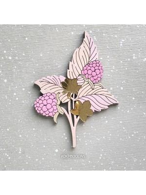 Брошь Ежевика-Малинка с нежно-розовыми ягодками