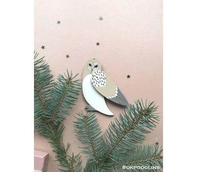 Елочная игрушка Сова с крылышками серебристая
