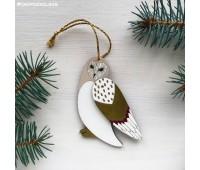 Елочная игрушка Сова с крылышками золотистая