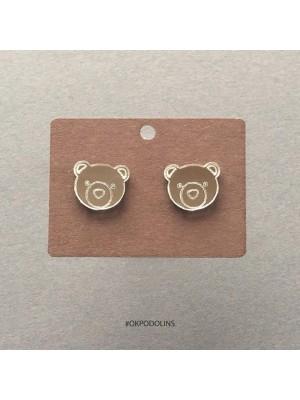 Сережки Медведи зеркальные серебристые