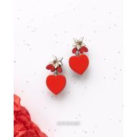 Серьги Цветок лимона и Сердце в красном цвете