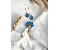 Набор: брошь Василек и сережки Озера ярко-синие