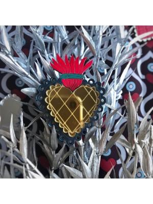 Брошь Огненное сердце кружевное золотое