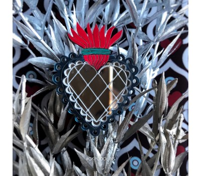 Брошь Огненное сердце кружевное серебряное