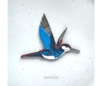 Брошь Колибри синя-кирпичная