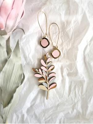 Набор брошь Веточка серо-розовая и серьги Озера розовые