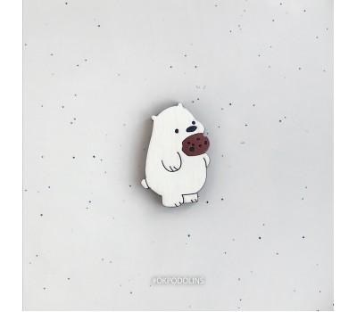 Миниброшь Медведь с печенькой