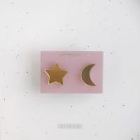 Сережки Луна и Звездочка зеркальные S