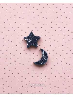 Сережки Луна и звездочка на гвоздике дерево