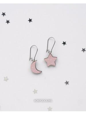 Сережки Луна и звездочка на швензе дерево