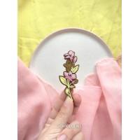 Брошь Лен желто-розовый