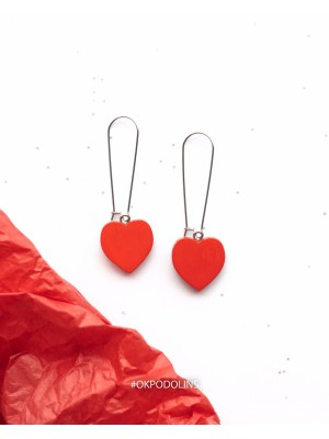 Сережки сердечки на швензе объёмные