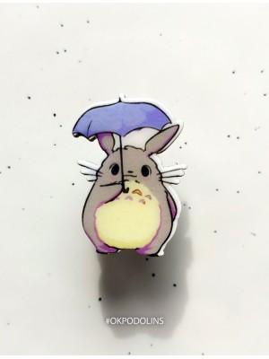Брошь Тоторо с зонтиком
