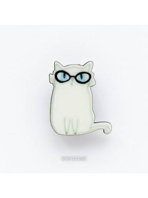 Брошь Кот в очках