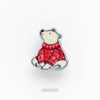 Брошь Мишка в теплом свитере
