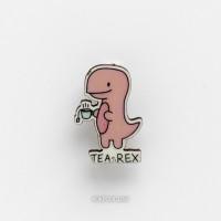 Брошь Динозавр с чаем
