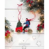 Елочная игрушка Велосипедист с елкой