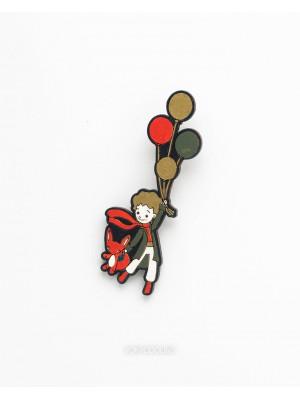 Брошь Маленький Принц на шариках летит