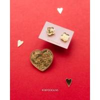 Набор брошь Валентинка с цветочками и сережки Неровные Четверолистники