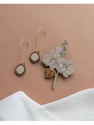 Набор брошь Орхидея и сережки Два Озера