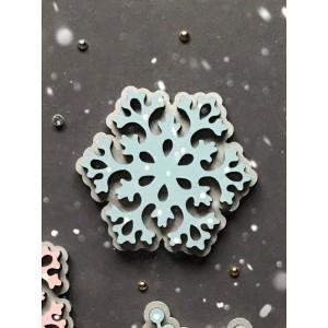Брошь Снежинка кружевная голубая