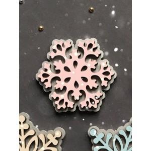 Брошь Снежинка кружевная розовая