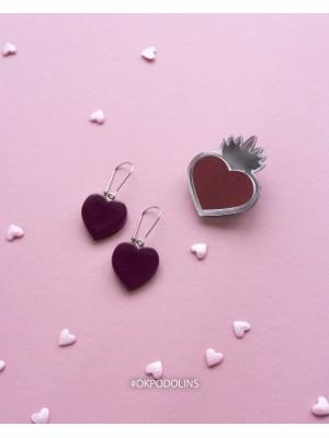 Набор брошь Огненное сердце кружевное и серьги Сердечки