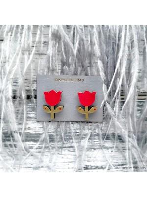 Сережки Тюльпанчики в красном цвете