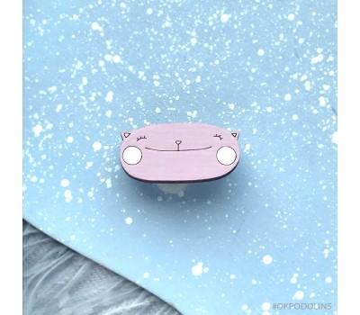 Миниброшь Кот улыбка розовый