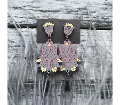 Сережки Цветок Гамаюн в пыльно-розовым с желтым