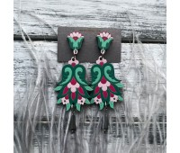 Сережки Цветок Гамаюн в изумрудно-малиновом