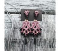 Сережки Цветок Гамаюн в пыльно-розовым