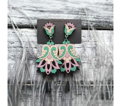 Сережки Цветок Гамаюн в мятно-бежевом