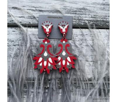 Сережки Цветок Гамаюн в красно-серебристом