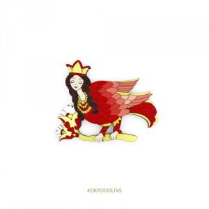 Брошь Птица Гамаюн в красном
