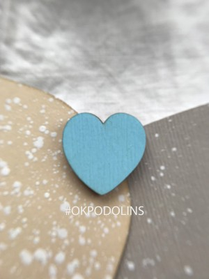 Брошь Сердечко голубое