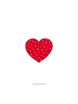 Брошь Сердечко красное в белый горошек
