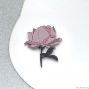 Брошь Роза силуэт пыльно-розовая