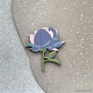 Брошь Роза силуэт фиолетово-розовая